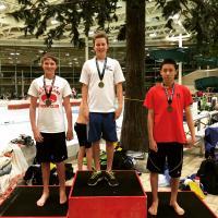 Michael Schmidt After winning 200 Breast (12-13 Boys)