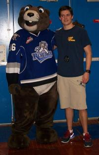 Marty the Marmot with Coach Ryan
